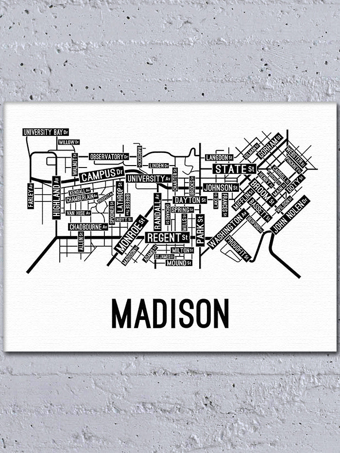 Madison Wisconsin Street Map Canvas School Street Posters
