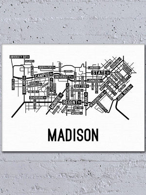 Madison, Wisconsin Street Map Canvas