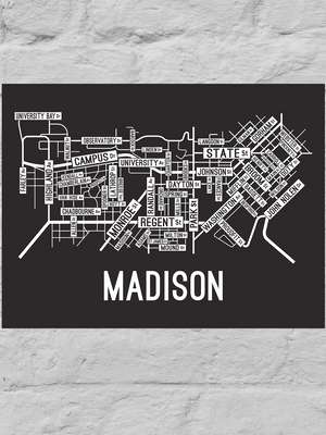 Madison, Wisconsin Street Map Large Poster