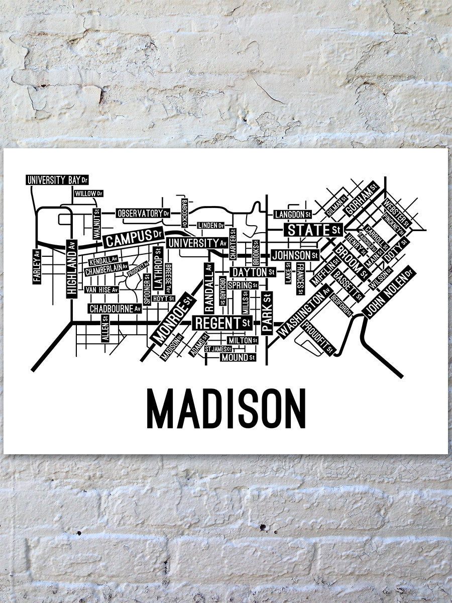 Madison Wisconsin Street Map Print School Street Posters