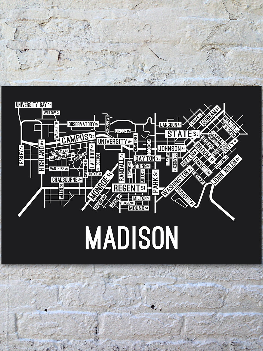 Madison, Wisconsin Street Map Print