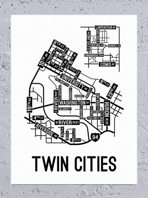 Twin Cities, Minnesota Street Map Canvas