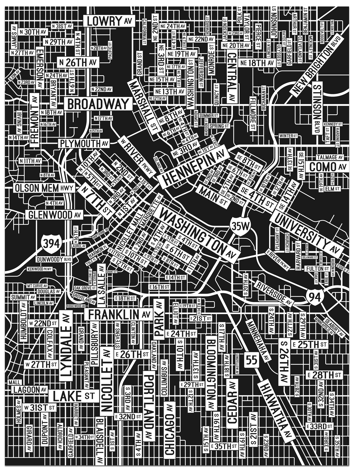 Minneapolis, Minnesota Street Map Poster