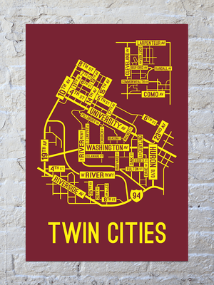 Twin Cities, Minnesota Street Map Print