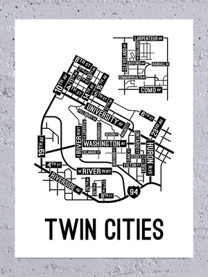 Twin Cities, Minnesota Street Map Large Poster