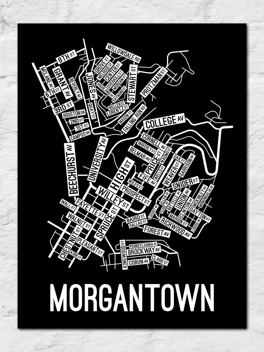 Morgantown, West Virginia Street Map Large Poster