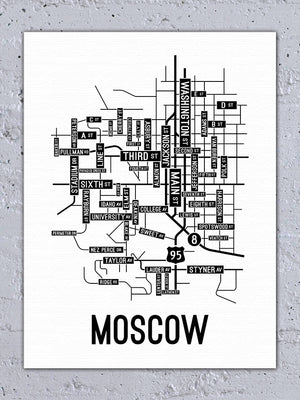 Moscow, Idaho Street Map Canvas