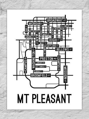 Mount Pleasant, Michigan Street Map Large Poster