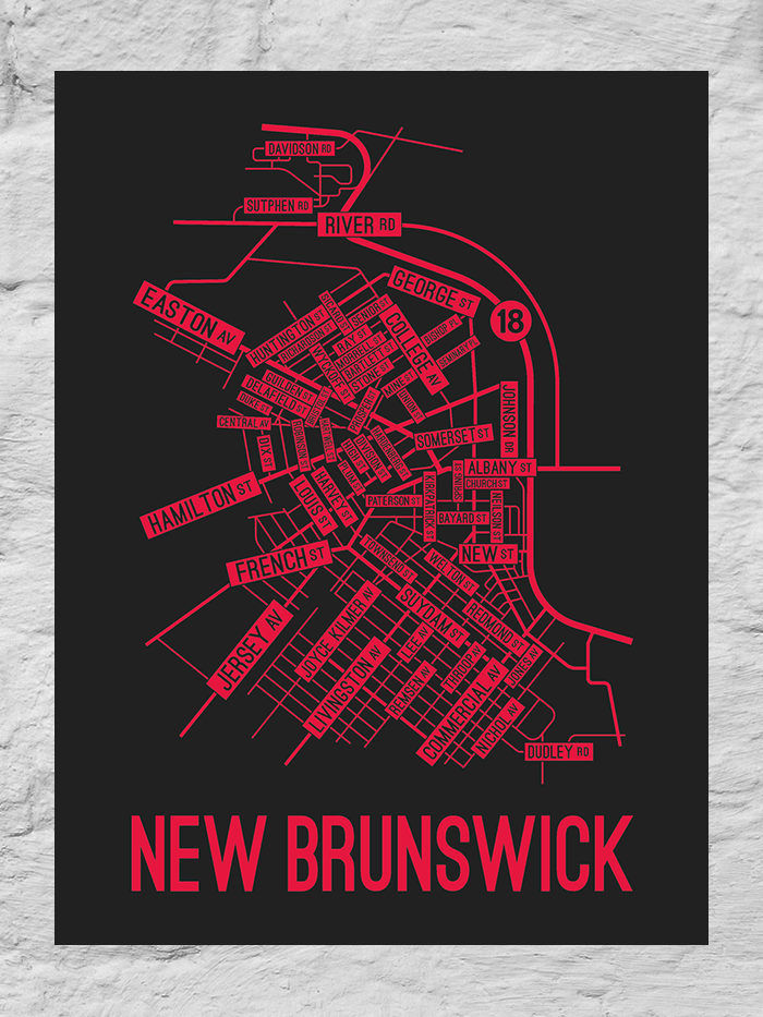 New Brunswick, New Jersey Street Map Large Poster