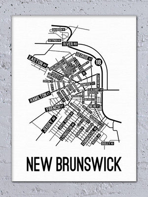 New Brunswick, New Jersey Street Map Canvas
