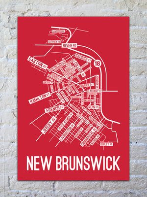 New Brunswick, New Jersey Street Map Print
