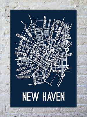 New Haven, Connecticut Street Map Print