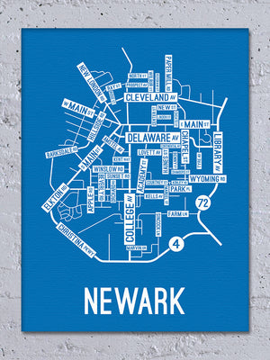 Newark, Delaware Street Map Canvas