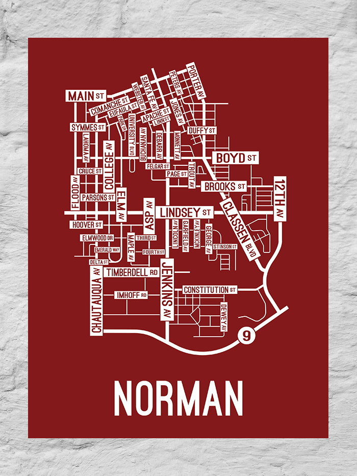 Norman, Oklahoma Street Map Large Poster