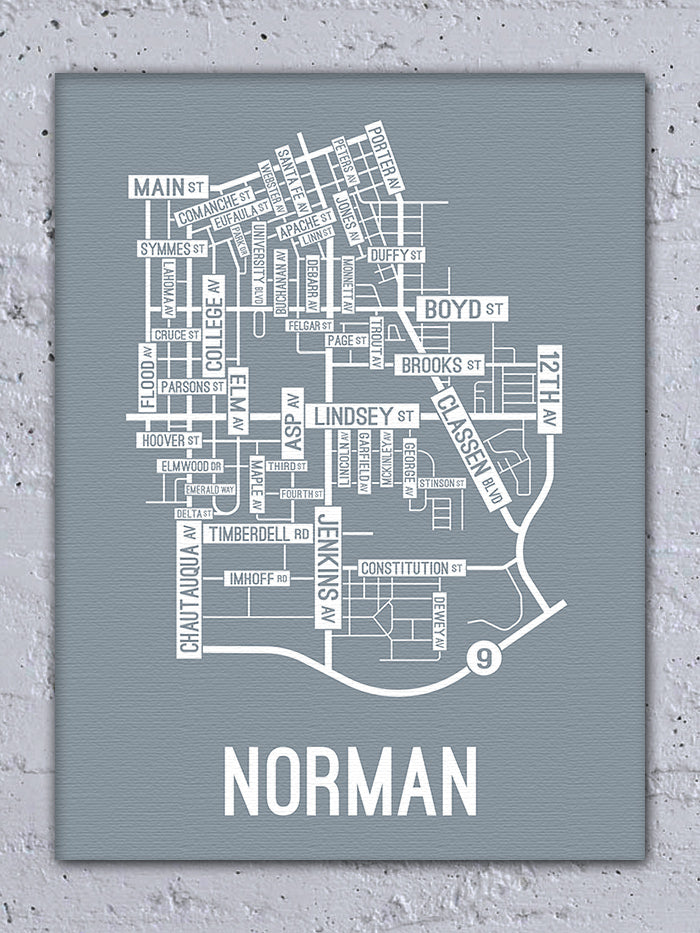 Norman Oklahoma Street Map Canvas School Street Posters