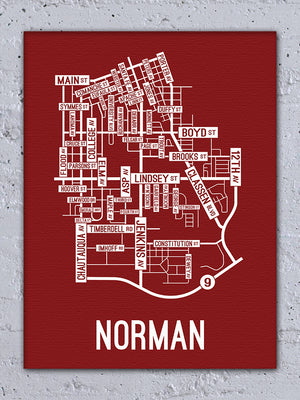 Norman, Oklahoma Street Map Canvas