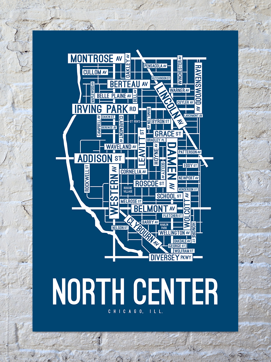 North Center, Chicago Street Map Print