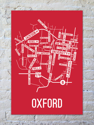 Oxford, Mississippi Street Map Print