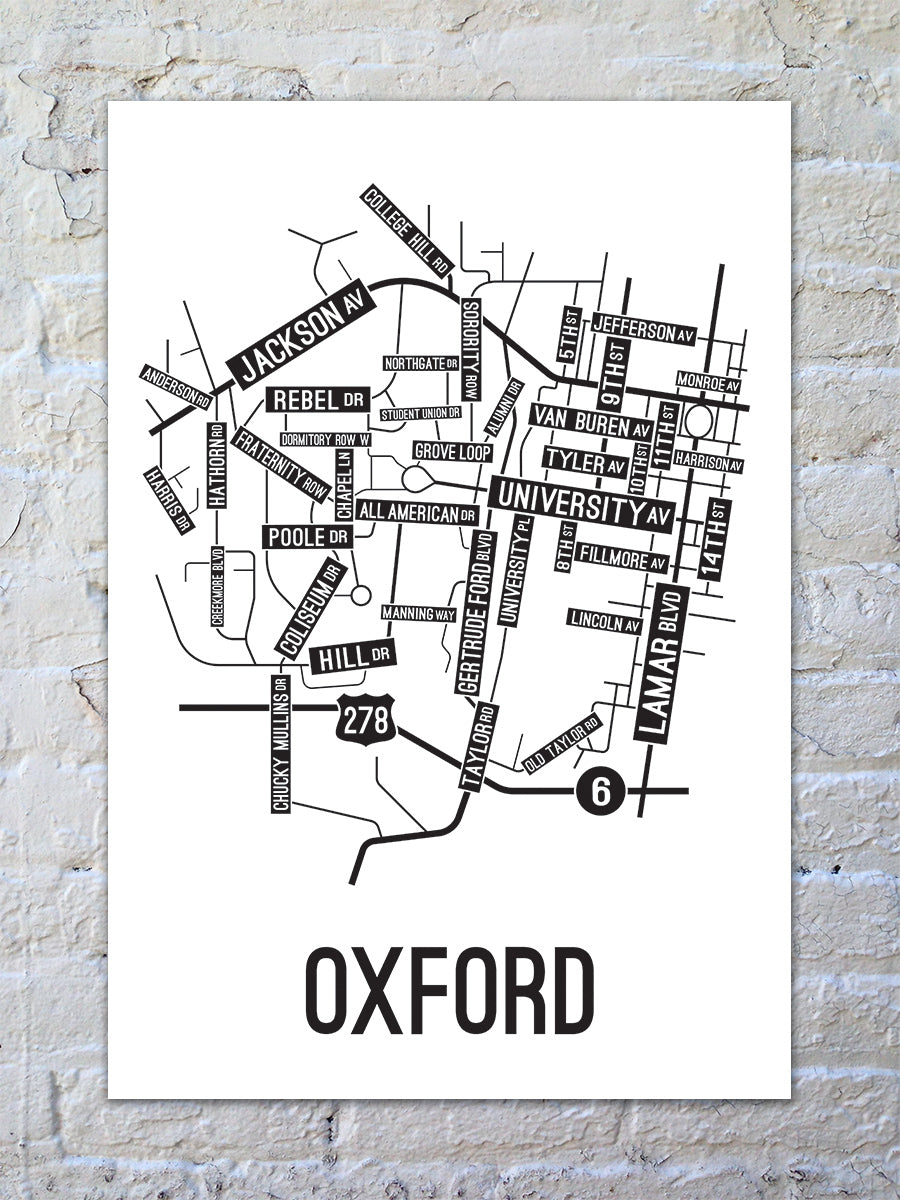 Oxford, Mississippi Street Map Large Poster