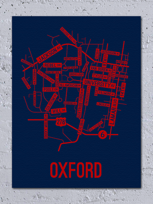 Oxford, Mississippi Street Map Canvas