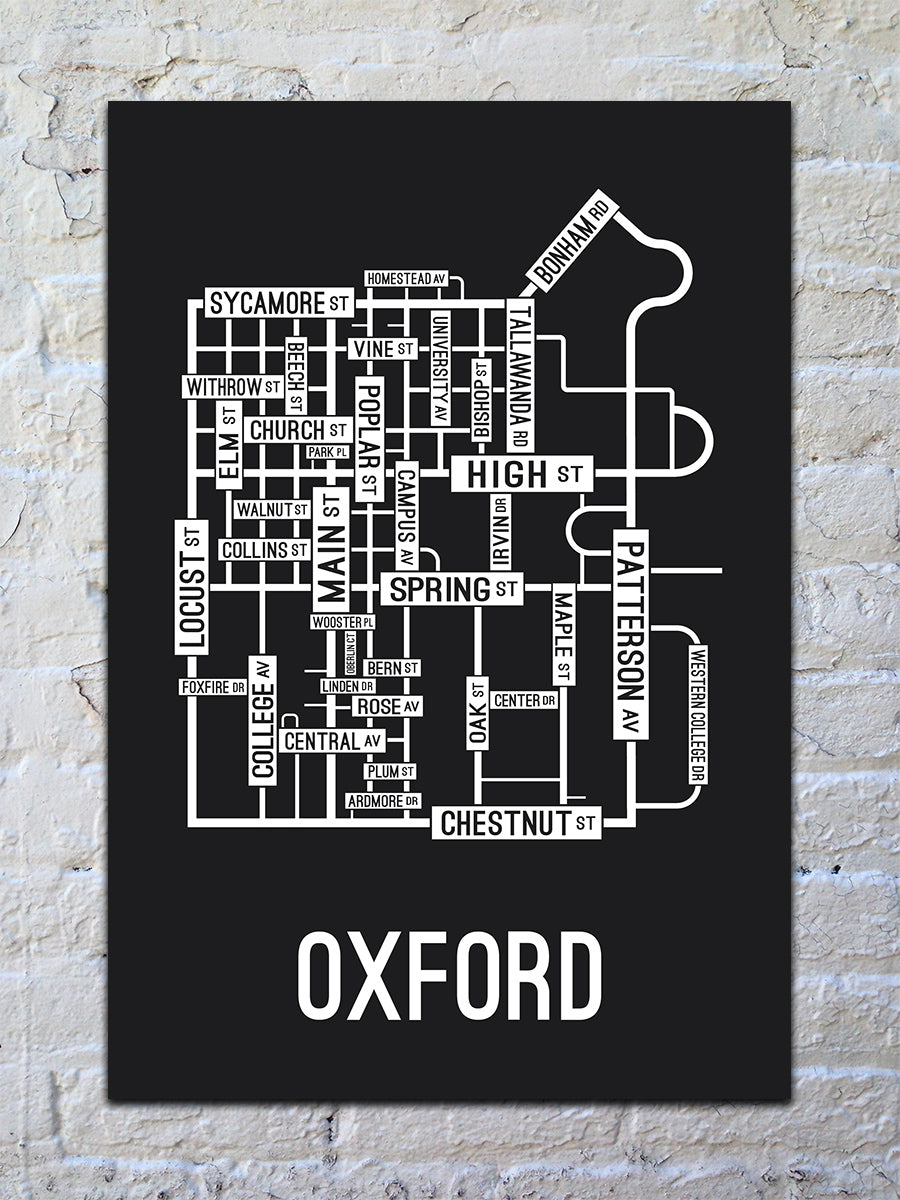 Oxford, Ohio Street Map Print