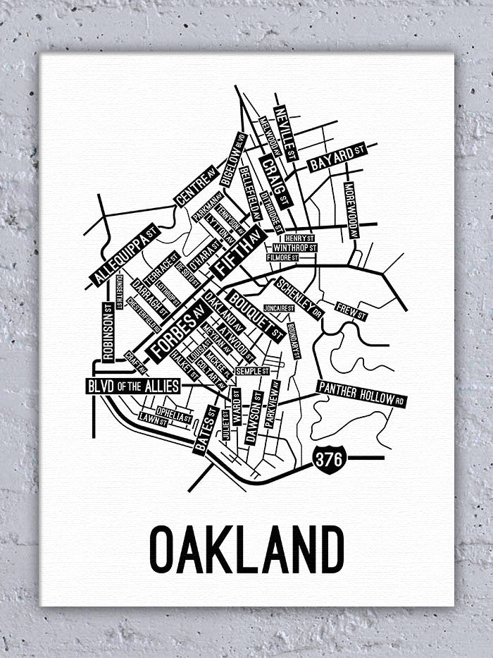 Oakland, Pittsburgh Street Map Canvas