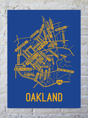 Oakland, Pittsburgh Street Map Large Poster