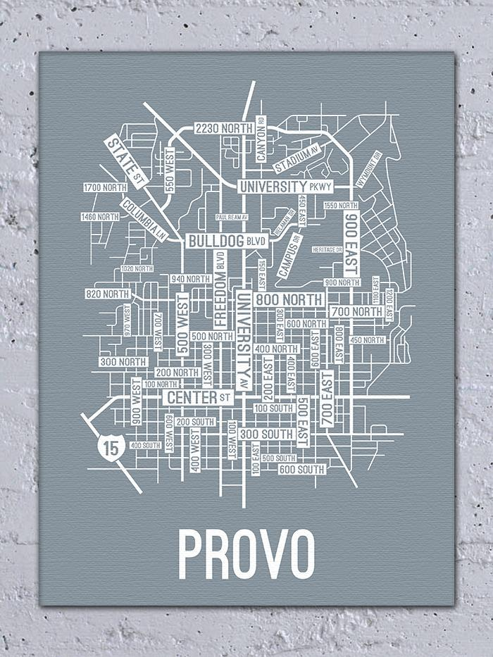 Provo, Utah Street Map Canvas