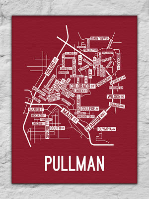 Pullman, Washington Street Map Canvas
