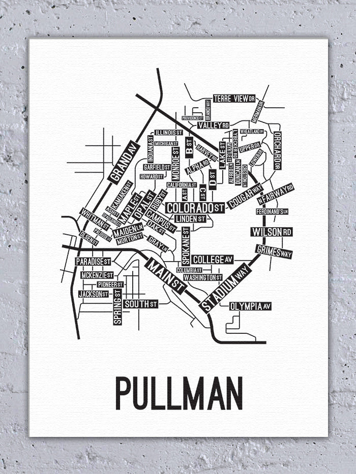 Pullman, Washington Street Map Canvas   School Street Posters