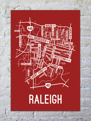 Raleigh, North Carolina Street Map Print