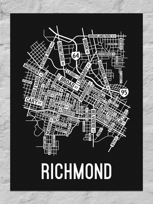 Richmond, Virginia Street Map Canvas