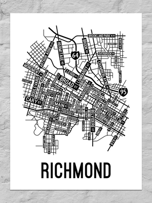 Richmond, Virginia Street Map Large Poster
