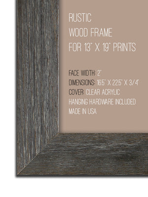 "13"" x 19"" Rustic Wood Frame Without Print"