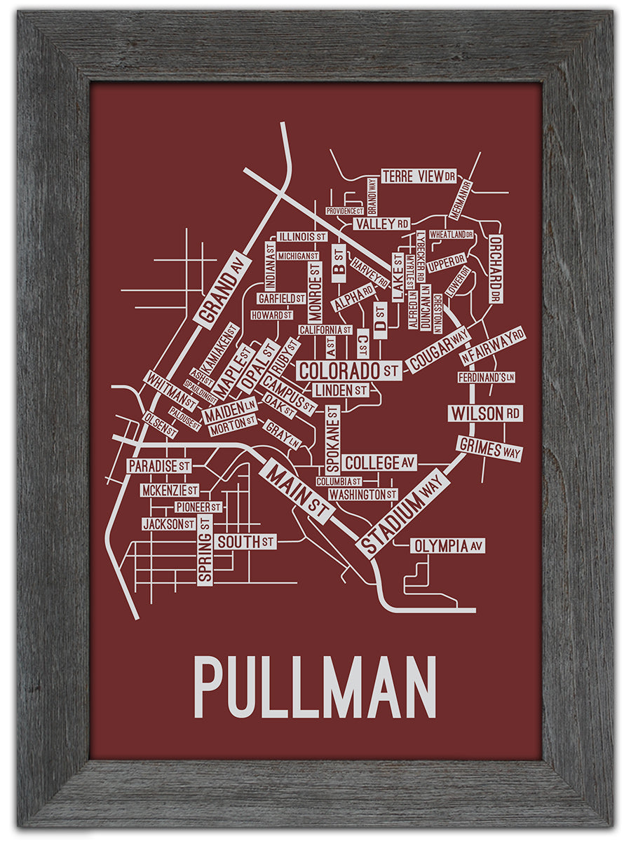Pullman, Washington Street Map Print