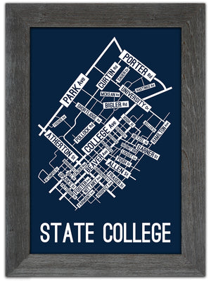 State College, Pennsylvania Street Map Print