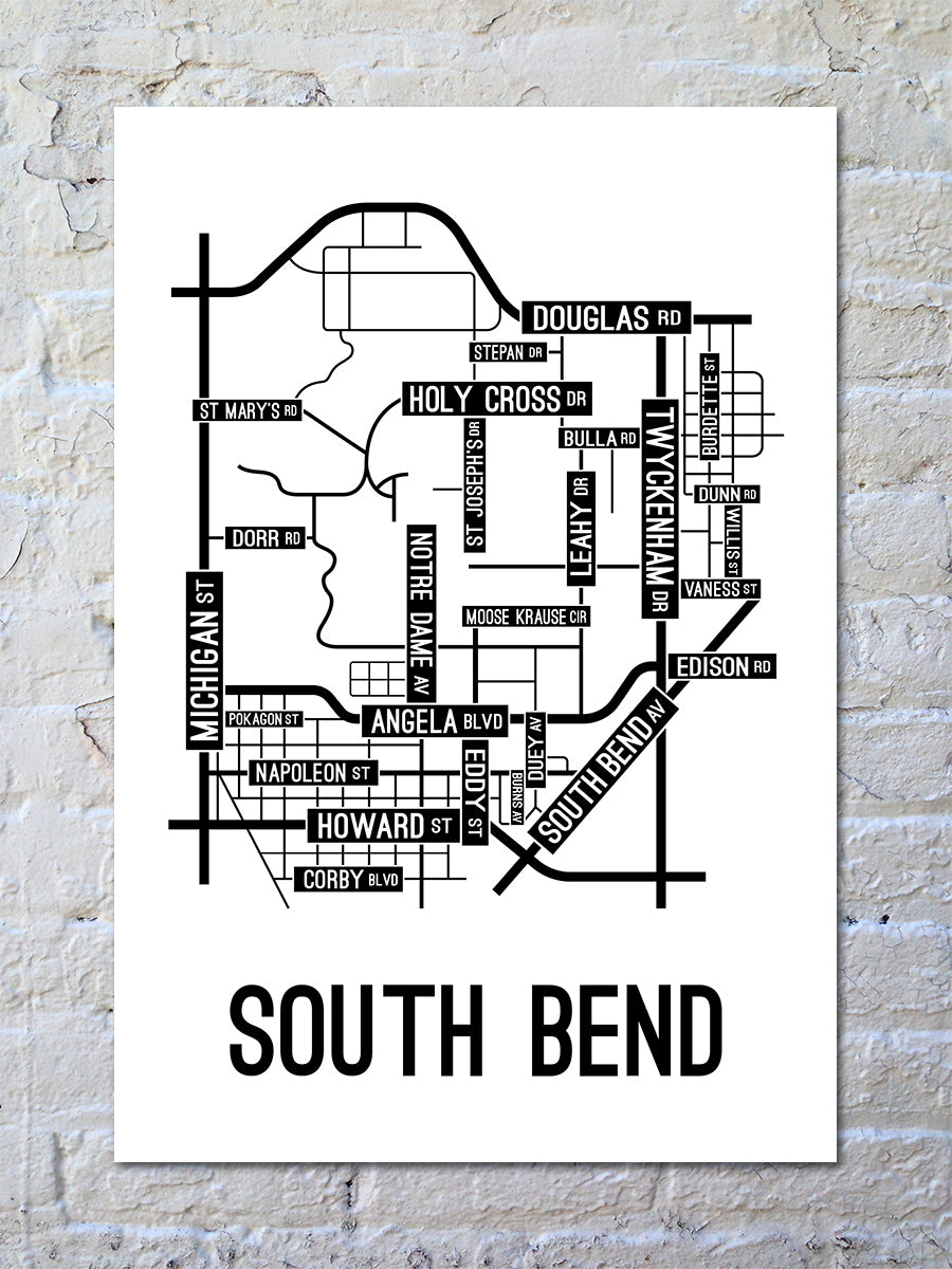 South Bend, Indiana Street Map Print
