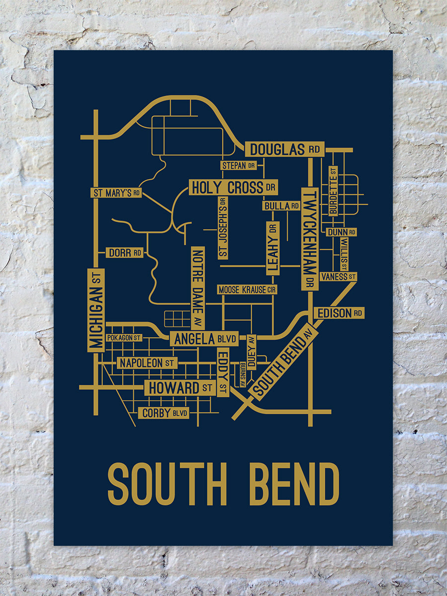 South Bend Indiana Street Map Print School Street Posters - South bend map