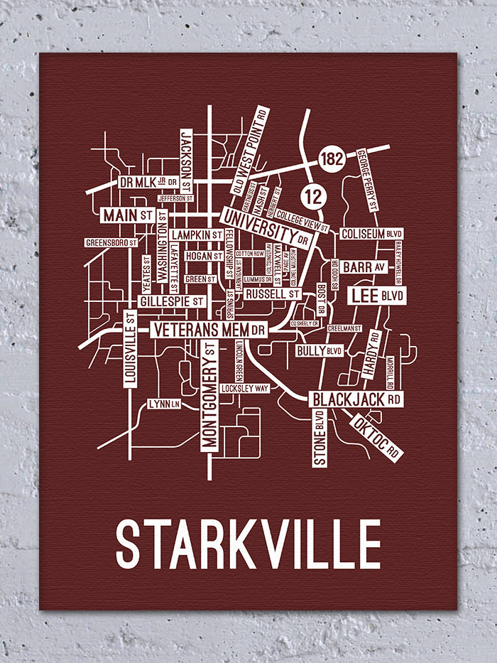 Starkville, Mississippi Street Map Canvas