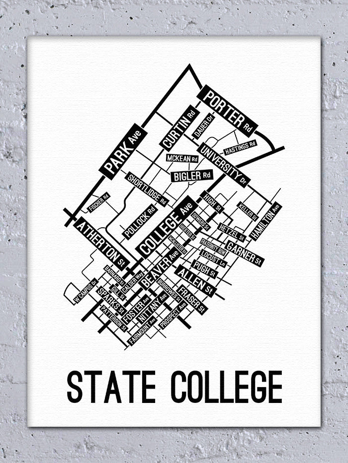 State College, Pennsylvania Street Map Canvas