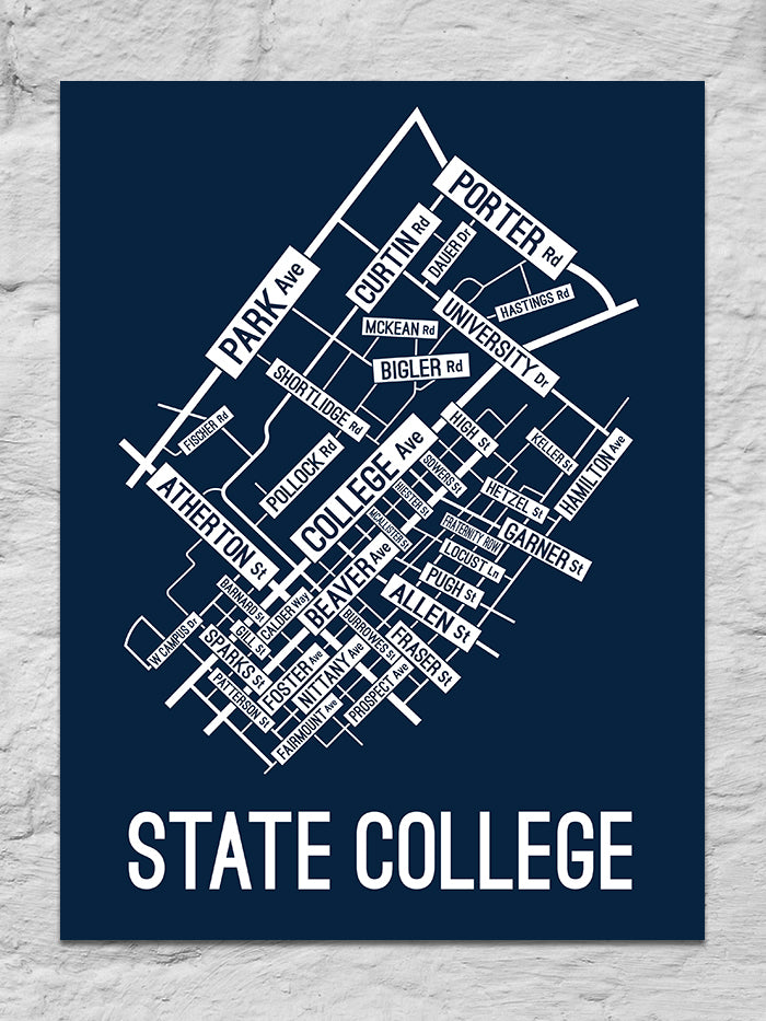 State College, Pennsylvania Street Map Large Poster