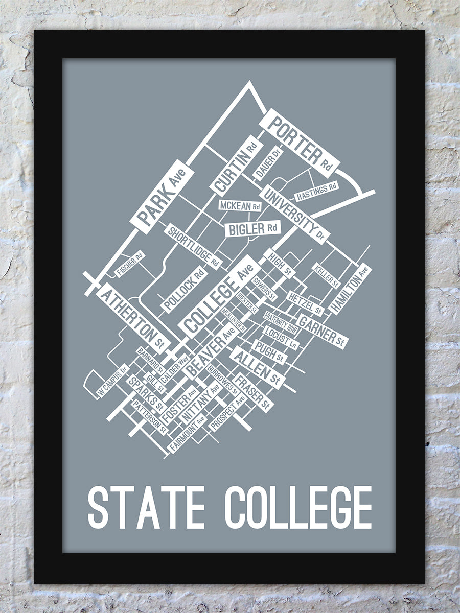 State College Pennsylvania Street Map Print School Street Posters - Us college map poster