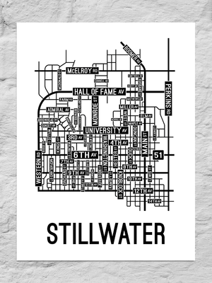 Stillwater, Oklahoma Street Map Large Poster