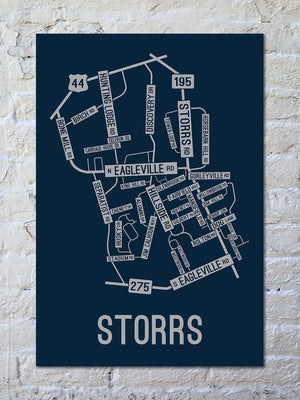 Storrs, Connecticut Street Map Print