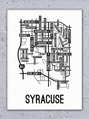 Syracuse, New York Street Map Canvas