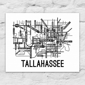 Tallahassee, Florida Street Map Canvas