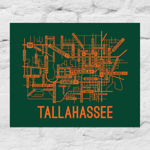 Tallahassee, Florida Street Map Large Poster
