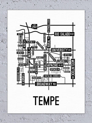 Tempe, Arizona Street Map Canvas