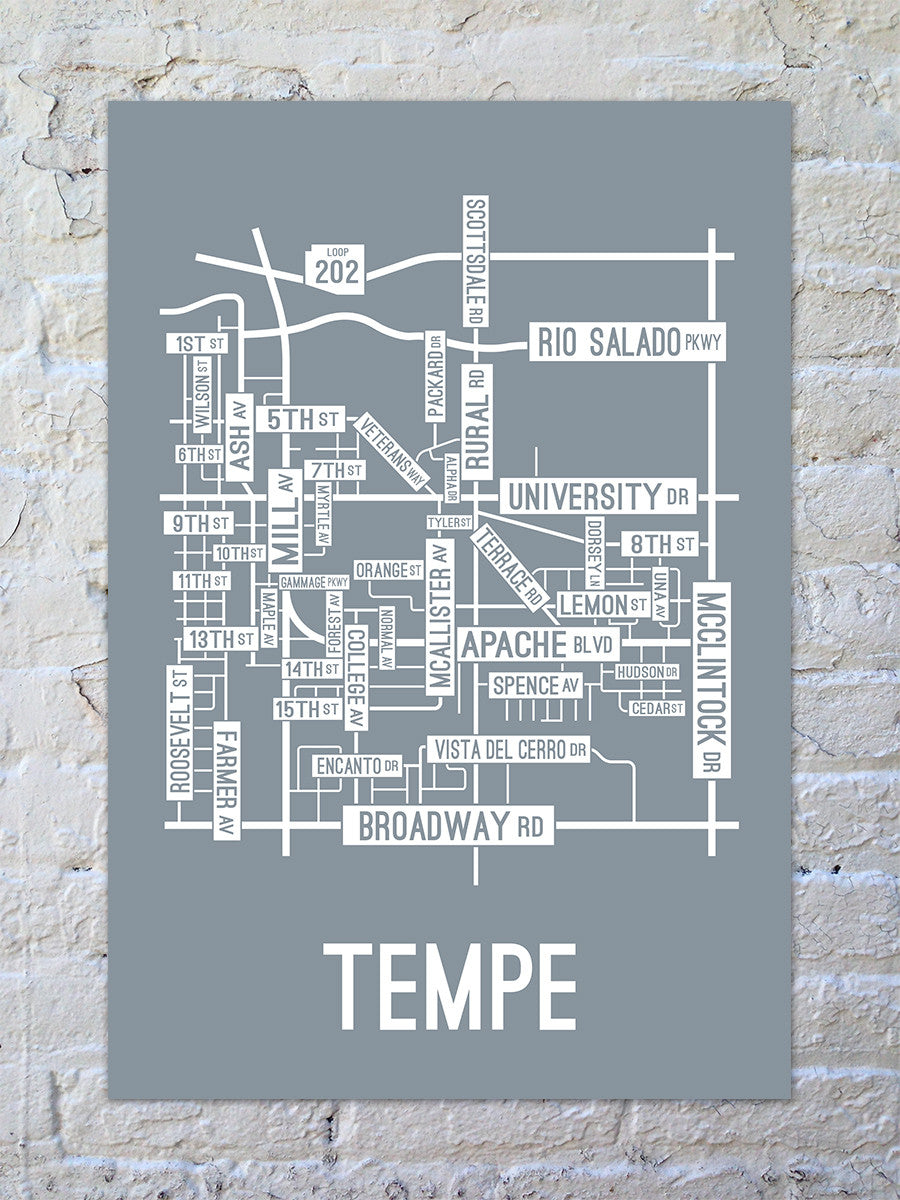 Tempe, Arizona Street Map Print
