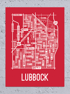 Lubbock, Texas Street Map Canvas